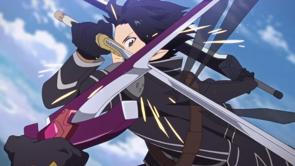 Kirito bloqueando o movimento de Eugene.