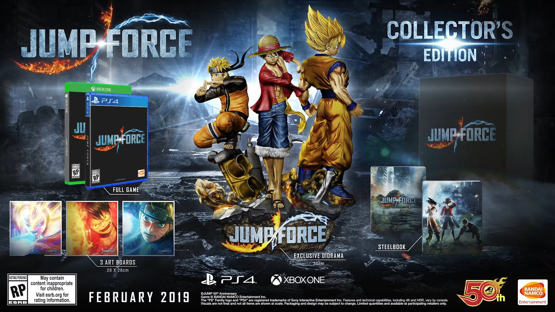 Jump Force dirorama co, Naruto, Luffy e Goku